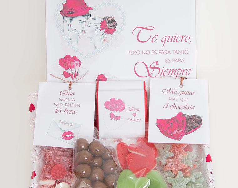 caja de golosinas pequena amor chocolate